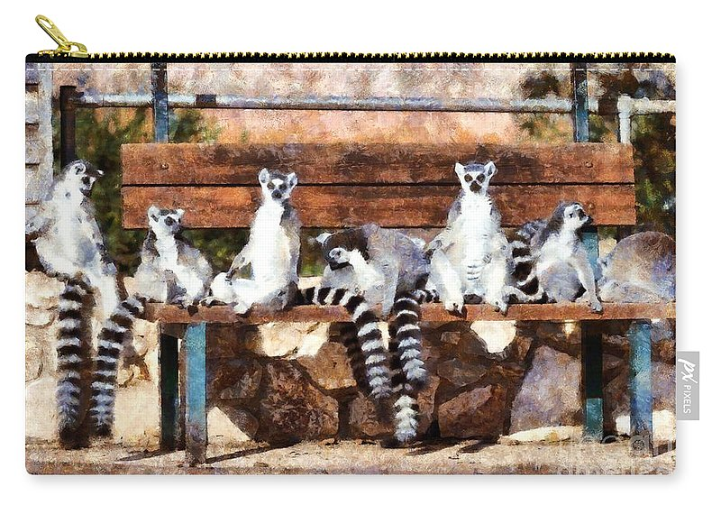 Ring Tailed Lemur Carry-all Pouch featuring the painting Ring Tailed Lemurs by George Atsametakis