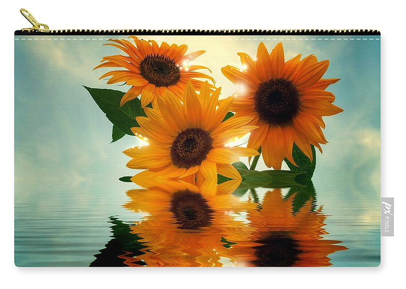 Sommer Carry-all Pouch featuring the pyrography Sunflowers by Steffen Gierok