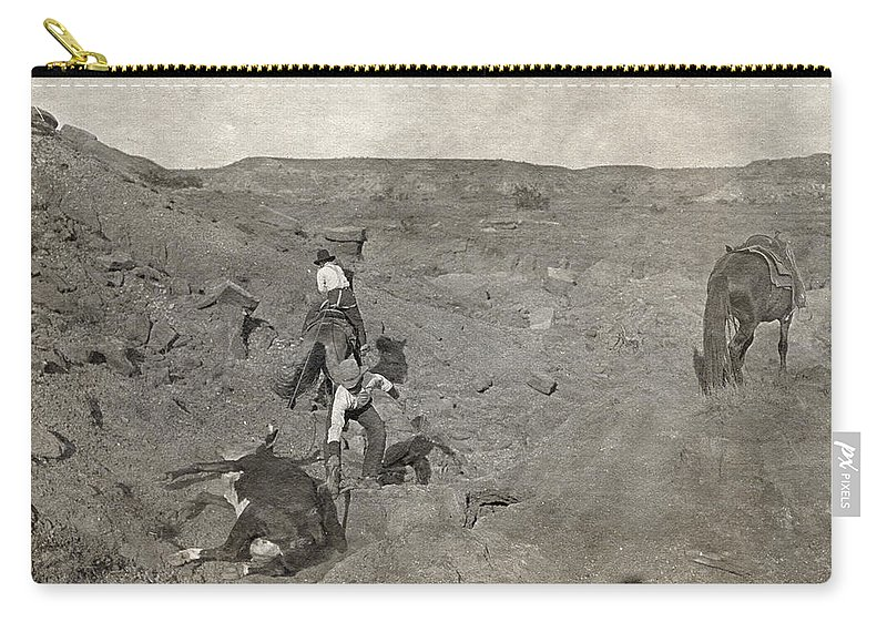 1907 Carry-all Pouch featuring the photograph Texas Cowboys, C1907 by Granger