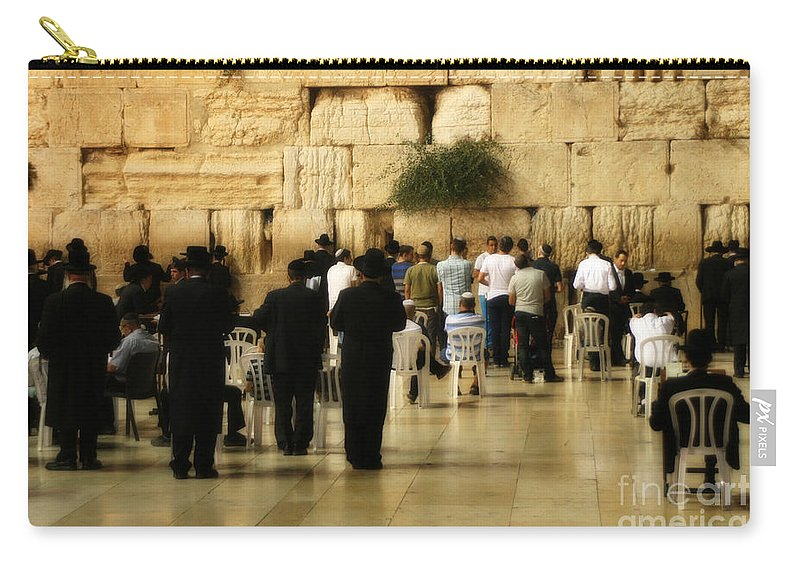 Hebrew Carry-all Pouch featuring the photograph Praying At The Western Wall by Doc Braham