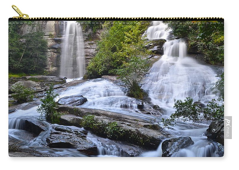 Cascading Carry-all Pouch featuring the photograph Twin Falls by Frozen in Time Fine Art Photography