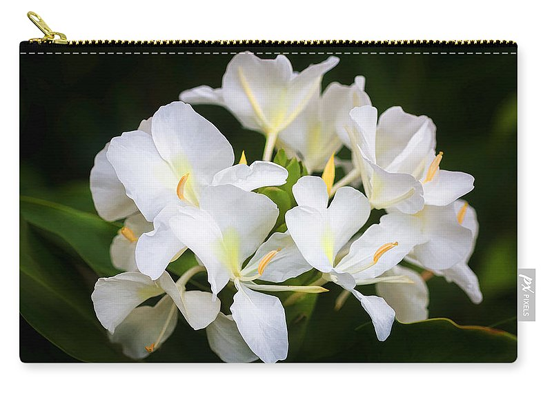 White Ginger Flowers H Coronarium Painted Carry All Pouch For Sale