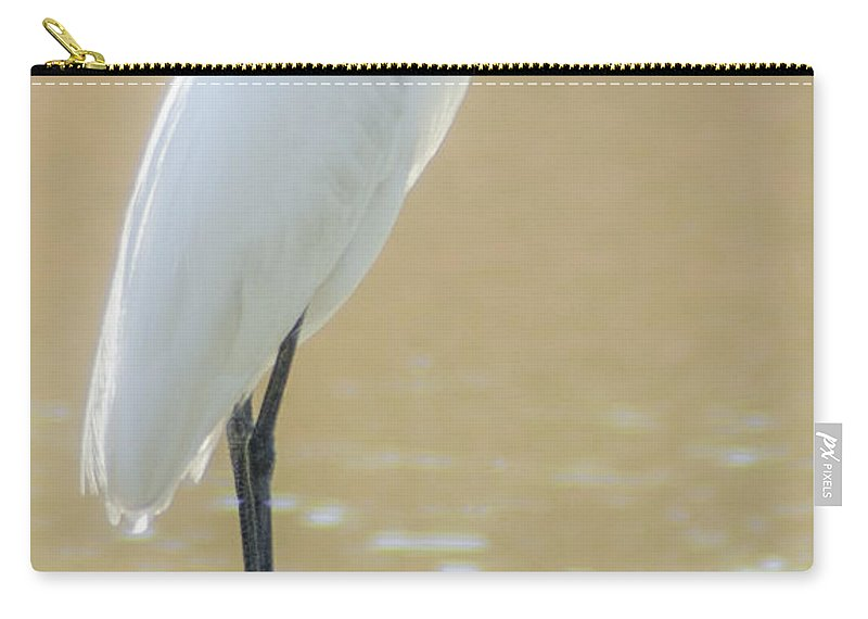 White Heron Carry-all Pouch featuring the photograph Still Waters White Heron by Dale Powell