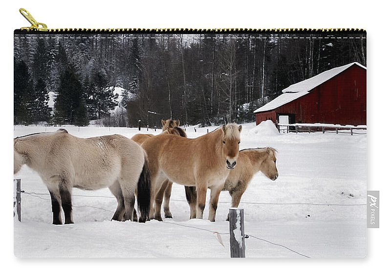 Norwegian Carry-all Pouch featuring the photograph 40104-5 Norwegian Horses by Albert Seger