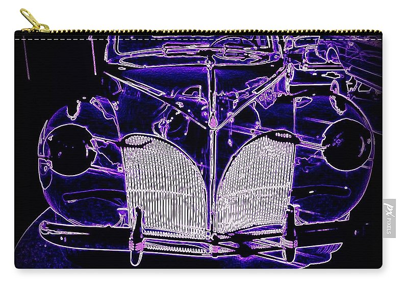 1941 Carry-all Pouch featuring the digital art 41 Lincoln In Neon by Bobbee Rickard