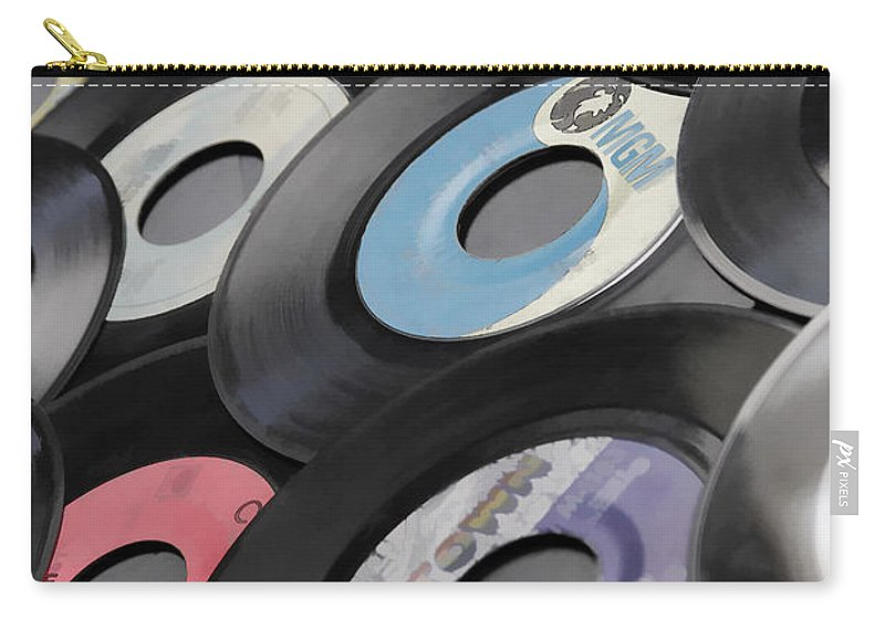 Records Carry-all Pouch featuring the photograph 45 Records Nostalgia by Athena Mckinzie