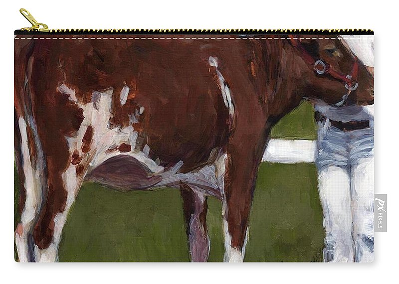 Cow Carry-all Pouch featuring the painting 4H by Molly Poole