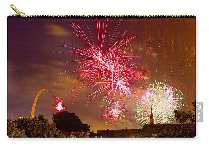 St Louis Arch Carry-all Pouch featuring the photograph 4th Of July In St Louis by Garry McMichael