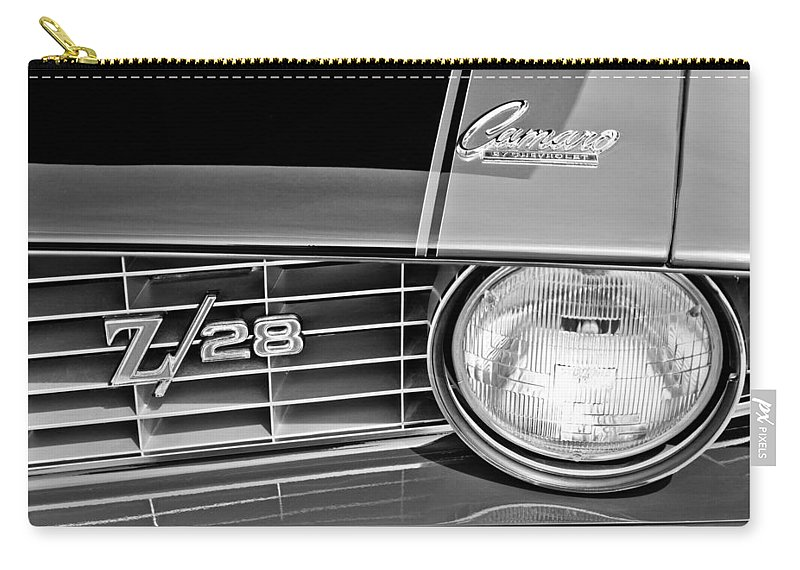 1969 Chevrolet Camaro Z 28 Grille Emblem Carry-all Pouch featuring the photograph 1969 Chevrolet Camaro Z 28 Grille Emblem by Jill Reger