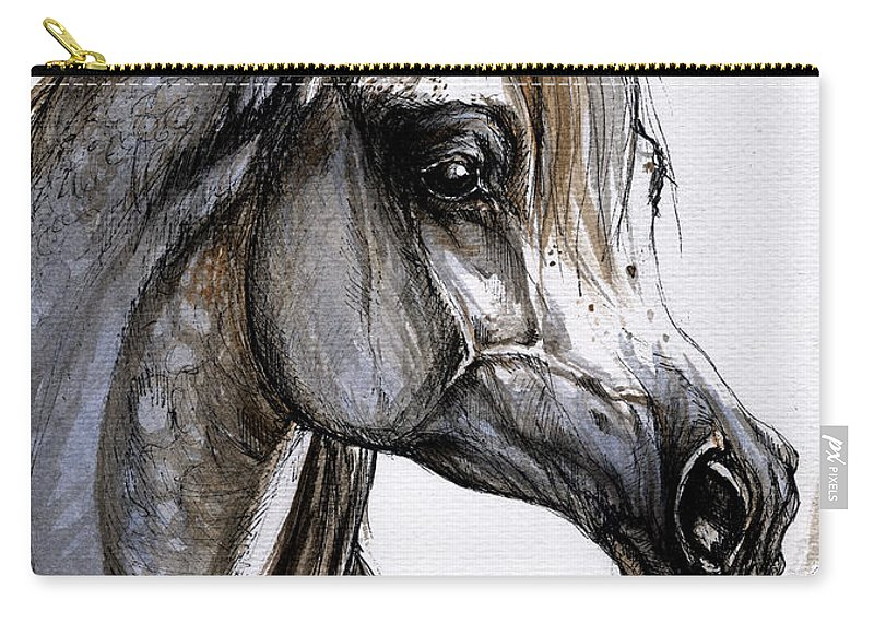 Horse Carry-all Pouch featuring the painting Arabian Horse by Angel Ciesniarska