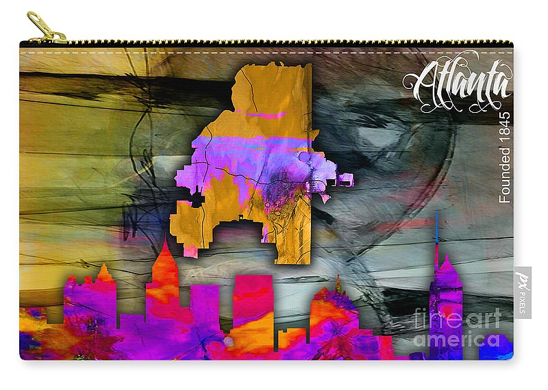 Atlanta Art Carry-all Pouch featuring the mixed media Atlanta Map And Skyline Watercolor by Marvin Blaine