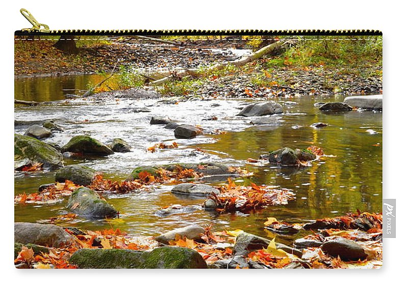 Autumn Carry-all Pouch featuring the photograph Autumn Stream by Frozen in Time Fine Art Photography