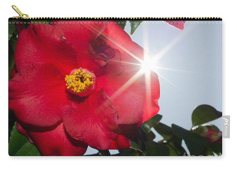 Camellia Carry-all Pouch featuring the photograph Camellia Flower by Mats Silvan
