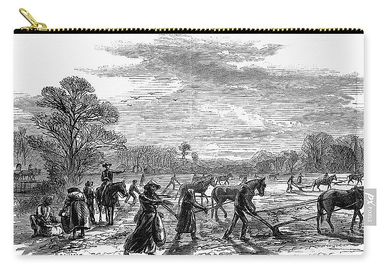 1867 Carry-all Pouch featuring the painting Cotton Plantation, 1867 by Granger