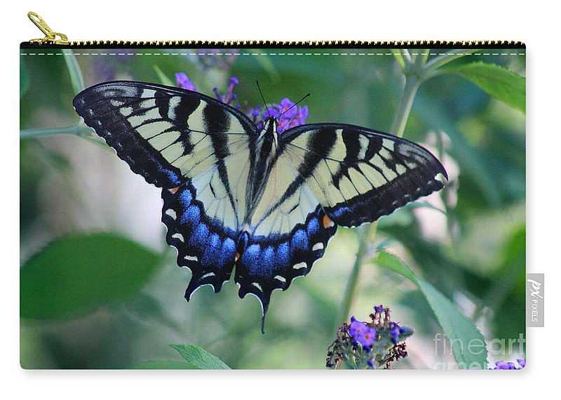 Carry-all Pouch featuring the photograph Eastern Tiger Swallowtail Butterfly On Butterfly Bush by Karen Adams