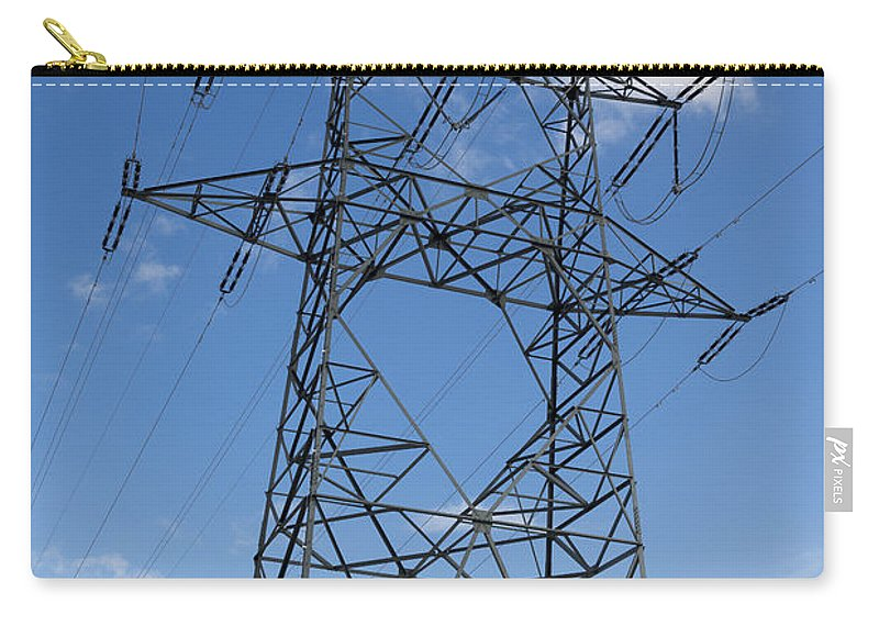 Electricity Pylon Carry-all Pouch featuring the photograph Electricity Pylon by Mats Silvan