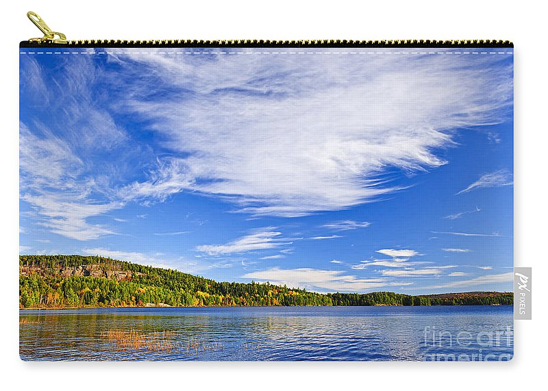 Autumn Carry-all Pouch featuring the photograph Fall Forest And Lake by Elena Elisseeva