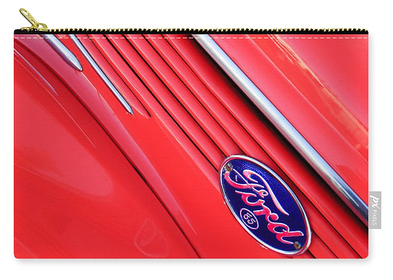 Ford Emblem Carry-all Pouch featuring the photograph Ford Emblem by Jill Reger