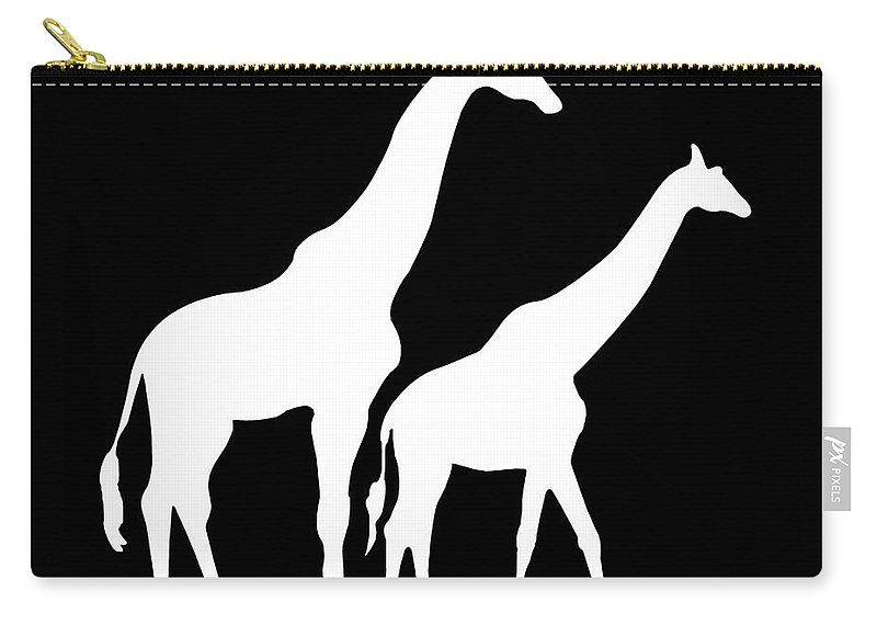 Graphic Art Carry-all Pouch featuring the digital art Giraffe In Black And White by Jackie Farnsworth