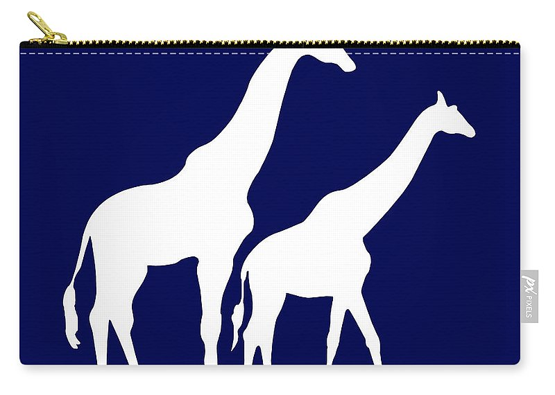 Graphic Art Carry-all Pouch featuring the digital art Giraffe In Navy And White by Jackie Farnsworth