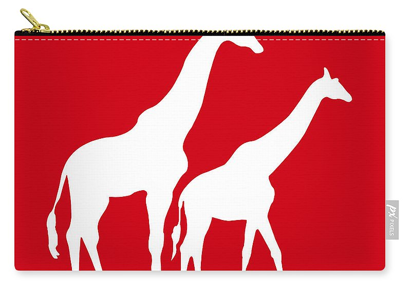 Graphic Art Carry-all Pouch featuring the digital art Giraffe In Red And White by Jackie Farnsworth