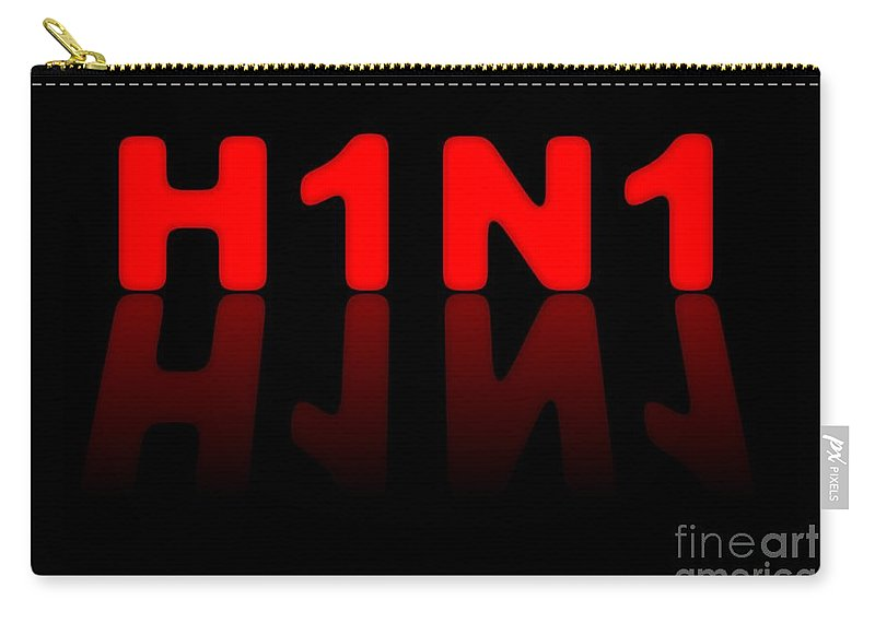 H1n1 Carry-all Pouch featuring the digital art H1n1 Sign by Henrik Lehnerer