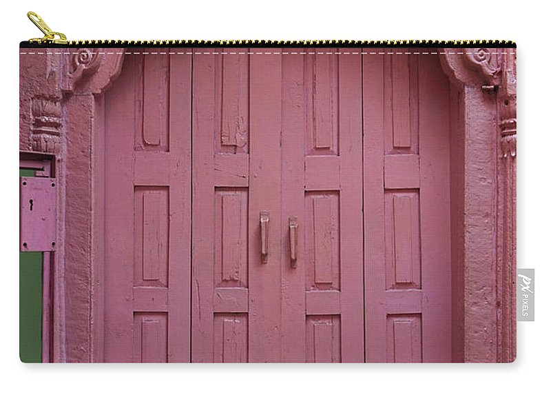 Description Carry-all Pouch featuring the photograph Old Doors India, Varanasi by Stereostok