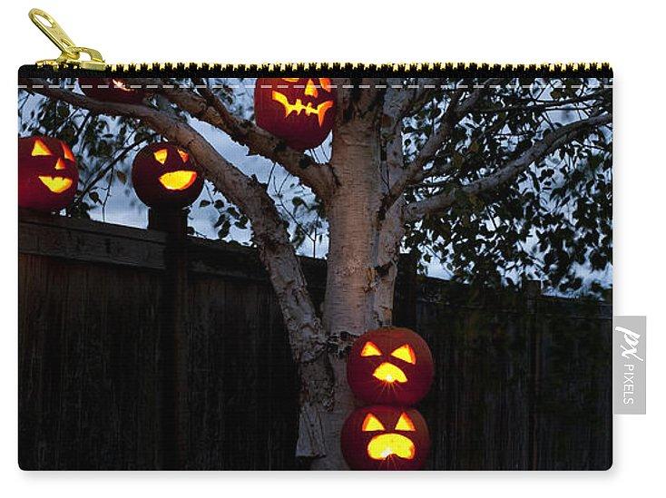 31st Carry-all Pouch featuring the photograph Pumpkin Escape Over Fence by Jim Corwin