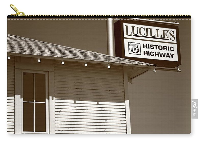 66 Carry-all Pouch featuring the photograph Route 66 - Lucille's Gas Station by Frank Romeo