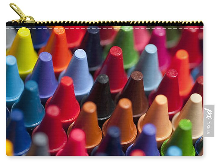 Abstract Carry-all Pouch featuring the photograph Rows Of Multicolored Crayons by Jim Corwin