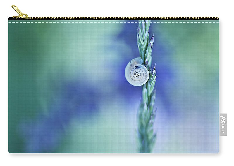 Snail Carry-all Pouch featuring the photograph Snail On Grass by Nailia Schwarz