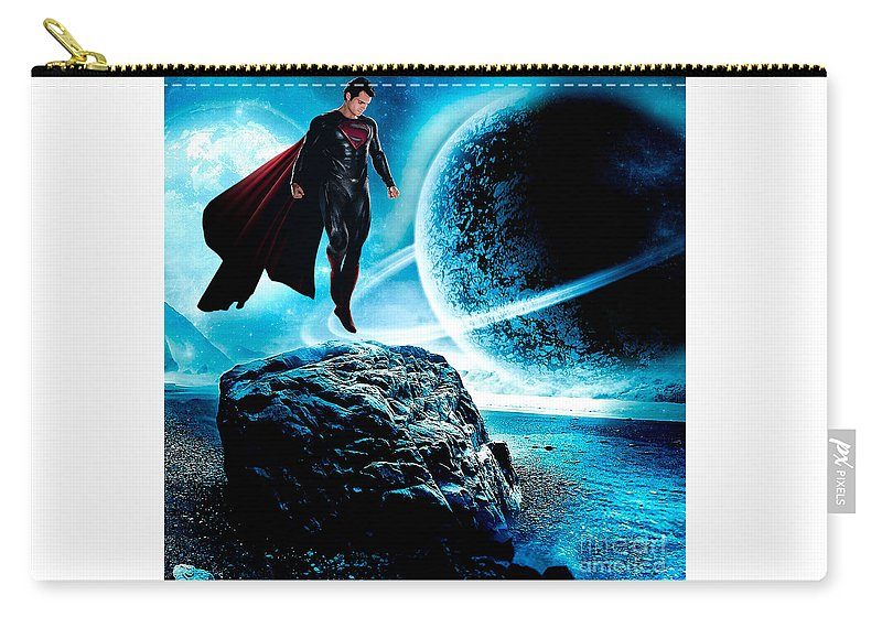 Superman Art Carry-all Pouch featuring the mixed media Superman by Marvin Blaine