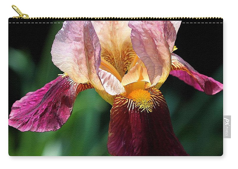 Mccombie Carry-all Pouch featuring the painting Tall Bearded Iris Named Indian Chief by J McCombie