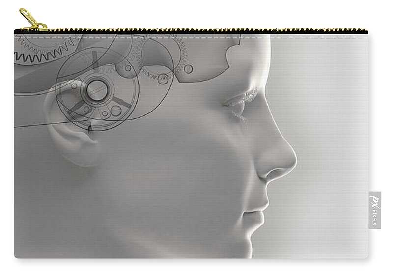 Gray Background Carry-all Pouch featuring the photograph Thought Mechanism by Science Picture Co