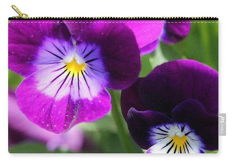 Mccombie Carry-all Pouch featuring the painting Viola Named Sorbet Plum Velvet Jump-up by J McCombie