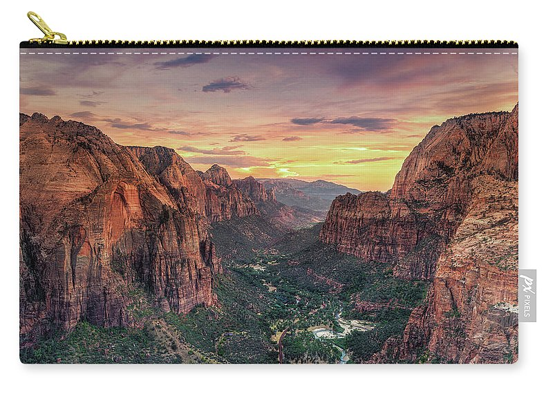 Scenics Carry-all Pouch featuring the photograph Zion Canyon National Park by Michele Falzone