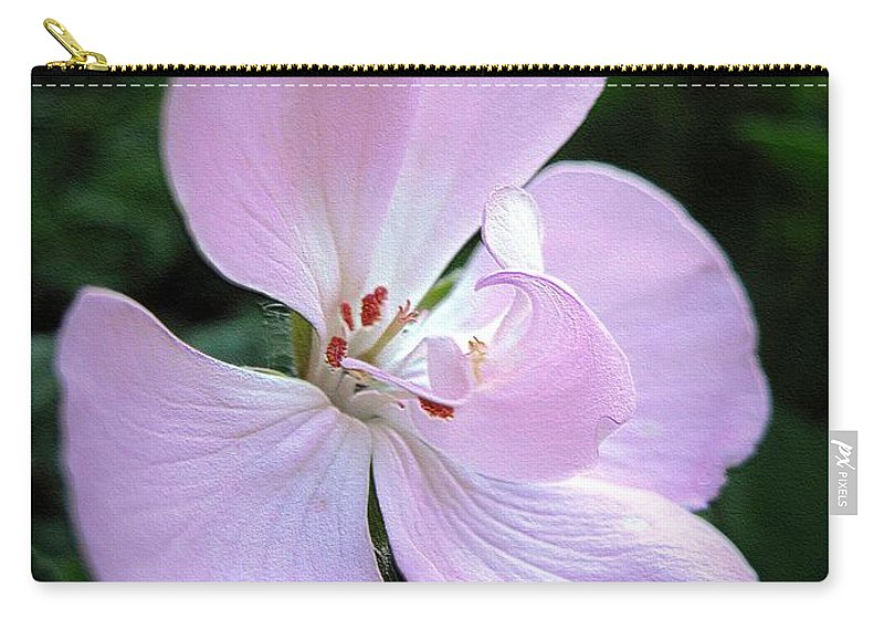 Zonal Geranium Carry-all Pouch featuring the digital art Zonal Geranium Named Tango Light Orchid by J McCombie