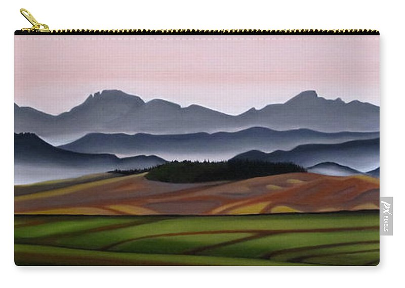 Cowboy Trail Carry-all Pouch featuring the painting 50 Shades Of Grey by Elissa Anthony