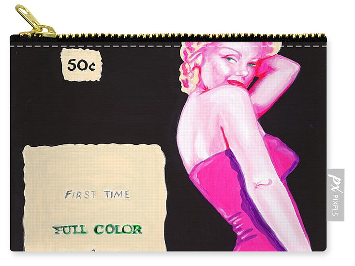 Marilyn Monroe Carry-all Pouch featuring the painting 50 Years Of Bunnies by Holly Picano