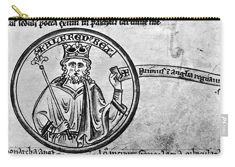 13th Century Carry-all Pouch featuring the painting Alfred The Great (849-899) by Granger
