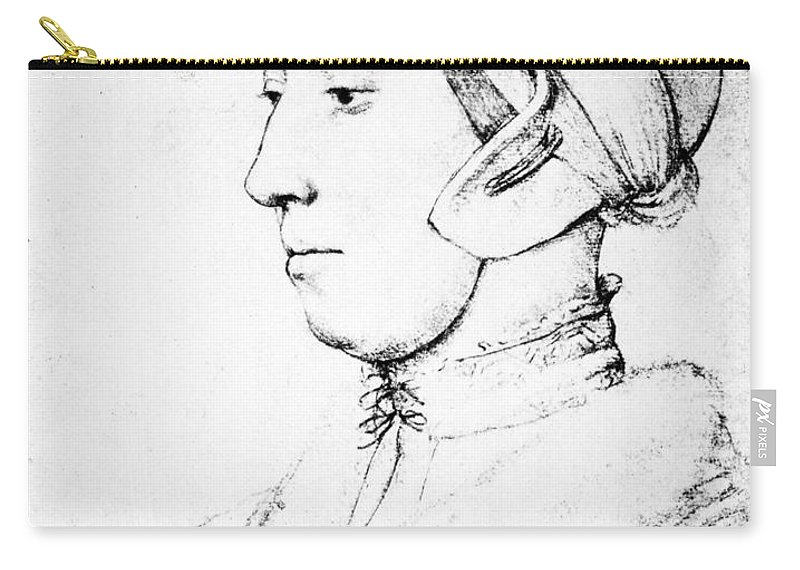 1535 Carry-all Pouch featuring the drawing Anne Boleyn (1507-1536) by Granger