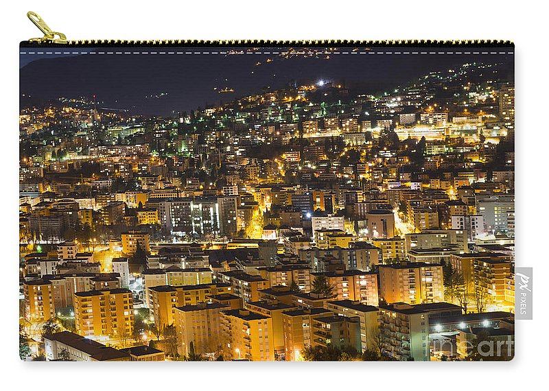 Cityscape Carry-all Pouch featuring the photograph Cityscape At Night by Mats Silvan