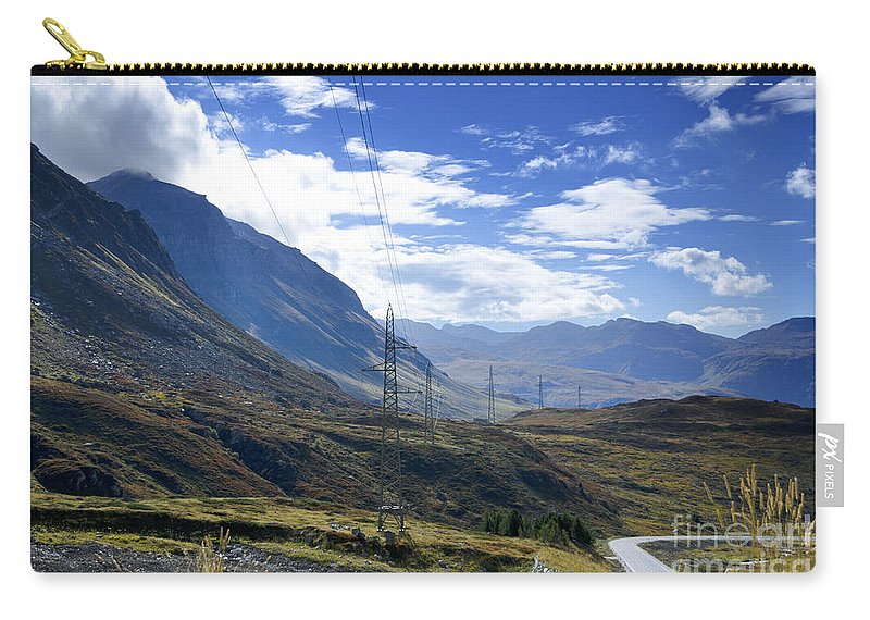 Mountain Carry-all Pouch featuring the photograph Electricity Pylon by Mats Silvan