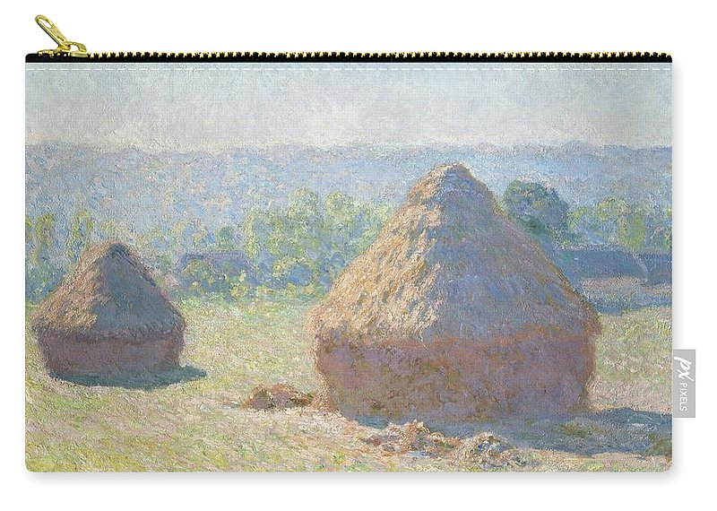 Claude Monet Carry-all Pouch featuring the painting Haystacks by Claude Monet