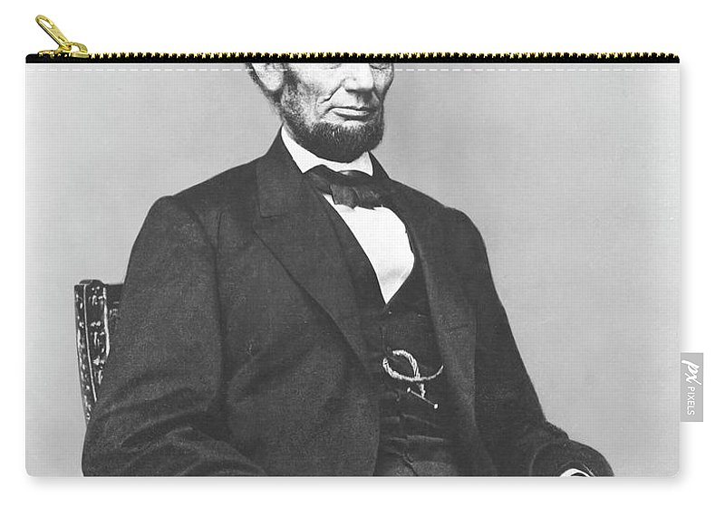 Abraham Lincoln Carry-all Pouch featuring the photograph President Lincoln by War Is Hell Store