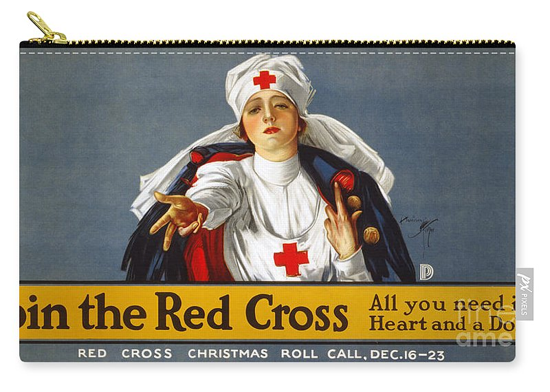1917 Carry-all Pouch featuring the photograph Red Cross Poster, 1917 by Granger