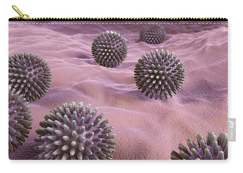 3d Visualisation Carry-all Pouch featuring the photograph Swine Influenza Virus H1n1 by Science Picture Co