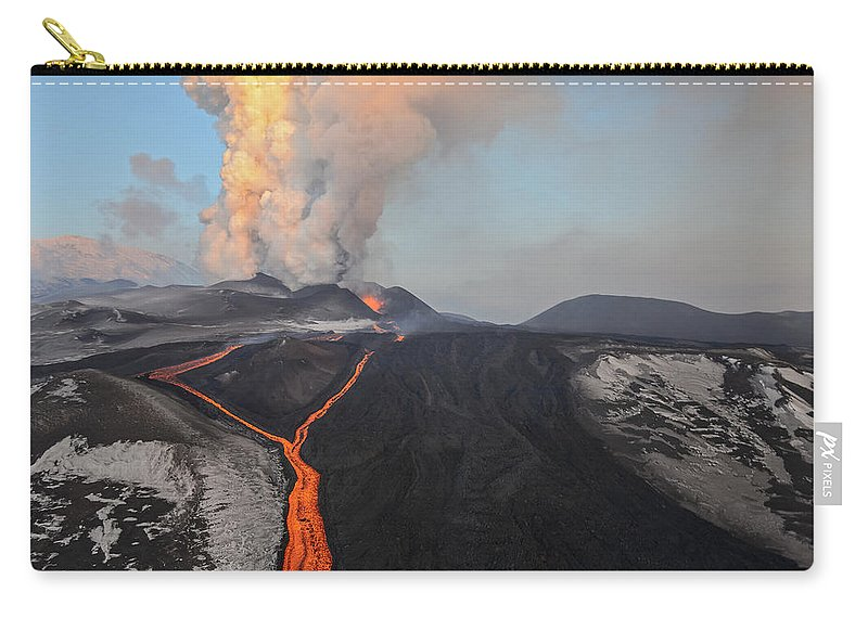 Feb0514 Carry-all Pouch featuring the photograph Tolbachik Volcano Erupting Kamchatka by Sergey Gorshkov