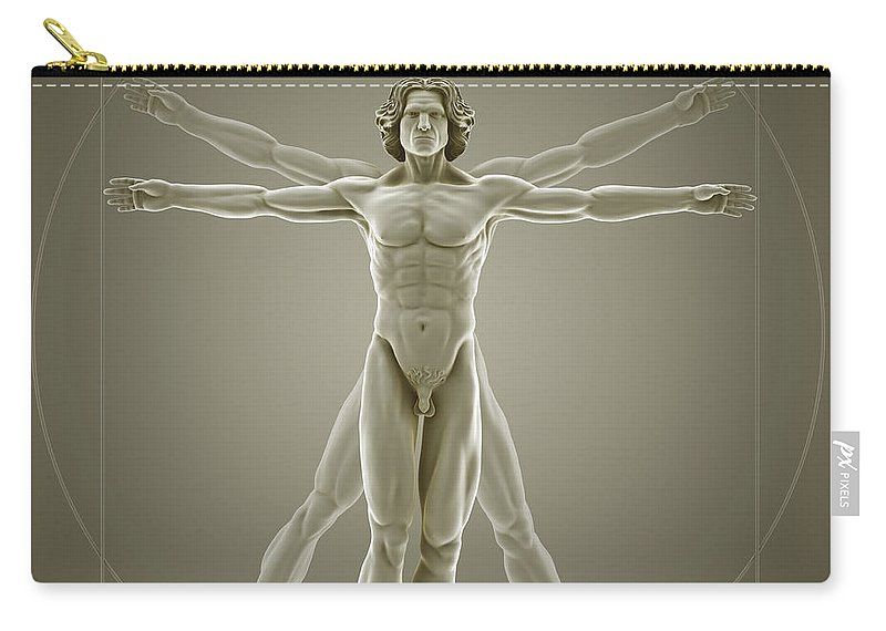 Biomedical Illustration Carry-all Pouch featuring the photograph Vitruvian Man by Science Picture Co