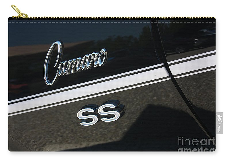 1967 Carry-all Pouch featuring the photograph 67 Black Camaro Ss Logo-8024 by Gary Gingrich Galleries